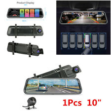 1Pcs 10'' Car Full Screen Stream Mirror DVR Dual Lens Dash Cam Camera Recorder