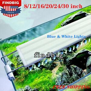 Aquarium Fish Tank White Blue LED Light Plant Fish Grow 8 12 16 20 24 30 inch