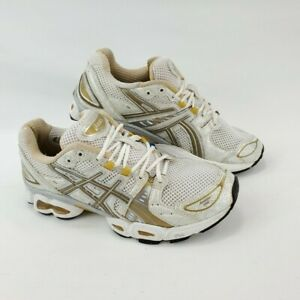 Asics TN793 Gel-Nimbus 9 Womens sz 8 Running Athletic Shoes White Silver Gold