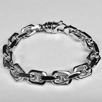 """14k Solid White Gold Handmade Link Men's chain/Bracelet 8.5""""  85 grams 10.5MM"""