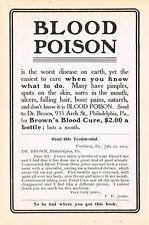 1905 Original Antique Vintage Dr Brown PA Blood Cure Drug Medicine Print Ad