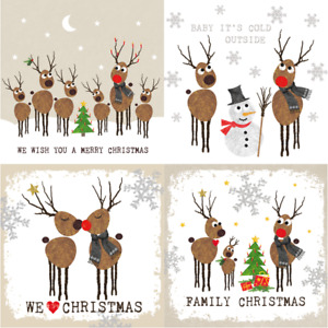 4 x MIXED Single Paper Napkins/3 ply/33cmDecoupage/Christmas/Deer Family