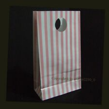 12 Bags Gloss Light Pink & White Striped Gusset Party Loot Treat Gift Paper 18cm