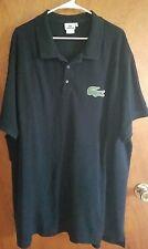 Men's LACOSTE Black Pique Cotton Short Sleeve  Logo Polo Shirt 11R 5XL Big Croc