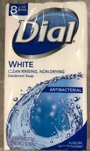 Dial White Antibacterial Deodorant Soap 1 Pack 8 Bars 4.0 Oz Clean Rinsing !