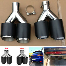 Carbon Fiber Black 63mm 89mm Stainless Steel Car Exhaust Dual Tips Muffler 2PCS