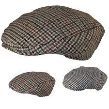Mens   Ladies Tweed Wool Herringbone Flat Cap Peak Hat with Quilted Lining 2c27ca214b3