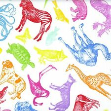 Fabric Zoo Animals Sketched Primary Colors on White Cotton 1 Yard S