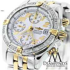 Breitling Two Tone B13050 Chronograph Automatic Watch with Bezel white dial