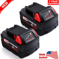 For MILWAUKEE M18 18 Volt Lithium 48-11-1852 XC 6.0 AH Battery 2-Pack 48-11-1828