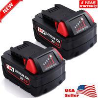 (2) For MILWAUKEE 18V 18 Volt Lithium Ion M18 48-11-1850 XC 5.0 AH Battery Packs
