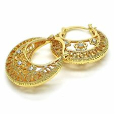 New 14 K Gold Filled Hoop Earrings~Detailed with Beautiful Crystals~Lightweight