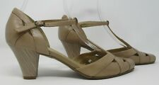 Clarks size 6 (39) light tan leather t bar heel court shoes