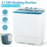 Compact Washing Machine Twin Tub Portable Washer&Dryer with Drain Pump Laundry