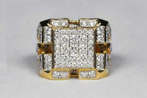 Men's 3 Ct Round Sim Diamond Cluster Engagement Band Ring 14K Yellow Gold Finish