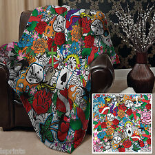 TATTOO DESIGN SOFT FLEECE BLANKET COVER THROW LARGE CHAIR BED WARM GIFT