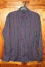 "MENS PAUL AND SHARK STRIPED SHIRT BLUE GREEN RED SIZE 44 XL 17.5"" COLLAR"