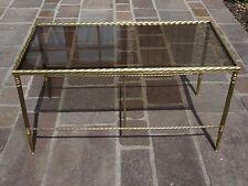 TABLE BASSE MAISON BAGUES BOUT DE CANAPE AN 50/60 VERRE FUME LAITON DESIGN LOFT