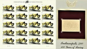 2011 Indianapolis 500 Sheet & Golden Replica FDC Stamps MNH SC #4530