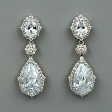 New Platinum Plated Cubic Zirconia CZ Wedding Bridal Dangle Drop earrings 03963