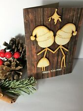 'Happy Kiss-mas' unusual Christmas love / partner wooden card