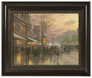 Thomas Kinkade Boulevard Lights Paris 16 x 20 Brushstroke Vignette (Framed)