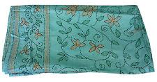 Vintage Indian Silk Floral Print Turquoise Stoles Kantha Shawl Scarf Reversible
