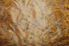 """Embroidered Silk Dupioni Fabric ~ Run for the Roses ~ Apricot ~ 54"""" wide"""