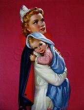 VINTAGE WWII RED CROSS NURSE BABY RECRUITING ILLUSTRATION CANVAS ART PRINT LARGE
