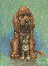 BLOODHOUND PUPPY SHELTERS KITTEN FROM THE RAIN DOG GREETINGS NOTE CARD