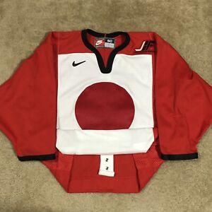 Nike Authentic Japan Ice Hockey Federation IIHF Olympic Hockey Jersey Red 50