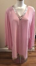 Moda International Silk Tunic Blouse Sequins  Size Large Pink ~ NEW with Tags