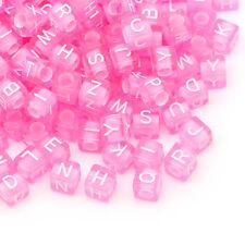 1000 Perles Acrylique Dé Lettre Alphabet Cube Rose 6x6mm B29977
