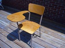 VTG School Desk Student Wooden Chair with attached Desk School house Learn 1960s