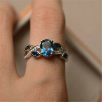 Fashion 925 Silver Wedding Rings Women Laides Aquamarine Jewelry Gift Size 6-10