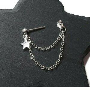 Star Helix Cartilage Earring Silver Plated Chain Earring Piercing Single