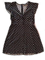 Dangerfield Size 14 Dress Fit & Flare Polka Dot Black White V Neck Ruffle Sleeve
