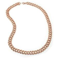"""18"""" Technibond Double Curb Circle Chain Necklace 14K Rose Gold Clad Silver HSN"""