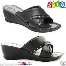 Ladies Women Black Mid Wedge Slip On Comfort Summer Casual Diamante Sandal Shoes