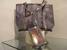 """JIMMY CHOO woman tote large bag trasparent and metallic """"PVC"""" and purse PARFUMS"""