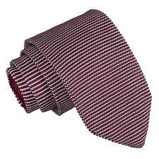 DQT Knit Knitted Pin Stripe White Burgundy Casual Mens Slim Tie