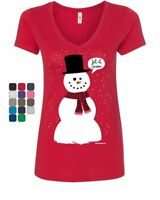 Let It Snow Women's V-Neck T-Shirt Funny Snowman Christmas Xmas