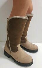 Warme dick Lammfell Leder Winterstiefel Stiefel Boots 39 Hippie Vintage Schuhe *