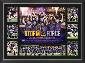 Melbourne Storm Deluxe Tribute Frame Storm Force - 2017 NRL Premiers Slater