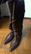 HUGO BOSS Brown Ruched Leather Knee High Boots - Size 40 (~US 9)