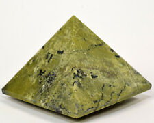"2.75"" Green Yellow Serpentine w/ Golden Pyrite Crystal Mineral Pyramid - Peru"