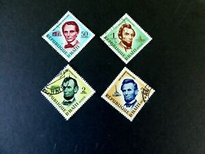 Haiti #477 & #C142-4, Used/VF  Sesquicentennial of Birth of Lincoln . 1959