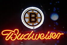 "Budweiser Boston Bruins Neon Sign 17""x14"" Bar Pub Beer Light Lamp Gift Decor"