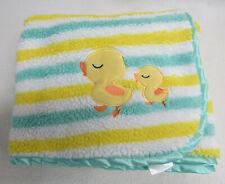 Baby Gear Aqua Yellow Stripe Ducks Satin Trim