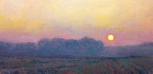 Misty Morning Sunrise Farm Impressionism Landscape Art Oil Painting Realism Sun
